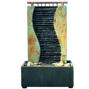 seliger Zimmerbrunnen Schieferbrunnen Guan Wasserwand beleuchtet