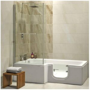 Badewanne mit Tür, Seniorenbadewanne 170x85/70x53cm mit Duschkabine,Wannenschürze und Ablauf/Sifon, Ausführung LINKS