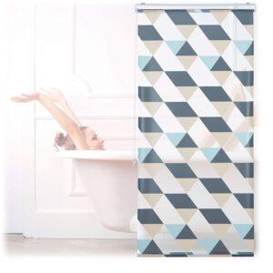Relaxdays Duschrollo, 80x240 cm, Dreieck Muster, Seilzug, Flexible Montage, Duschvorhang für Badewanne und Fenster, bunt