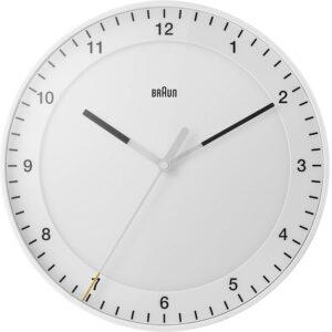 Braun Klassische große analoge Wanduhr leisem Uhrwerk