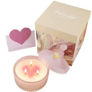 Yinuo Candle Duftkerze für Frau,Tolles Geschenk Glas Duftkerzen 3 Dochte Soja Wachs Rosen Aromatherapie Kerzen mit Deckel