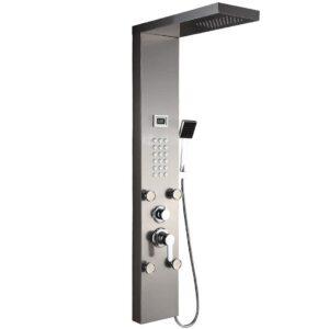Auralum Edelstahl Duschpaneel 3 Funktionen Duschsäulen Regendusche Duschset mit Wassertemperaturanzeige