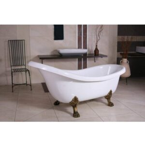 Casa Padrino Freistehende Badewanne Jugendstil Sicilia Weiß/Altgold 1740mm - Barock Badezimmer