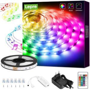 Lepro LED Strip 5M, LED Streifen Musik Lichterkette