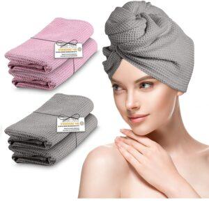 B BY C® Haarturban – [2X] Turban Handtuch mit Knopf